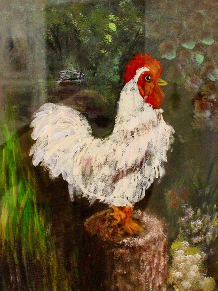 Rooster by Samuel Carroll. Acrylic. NFS