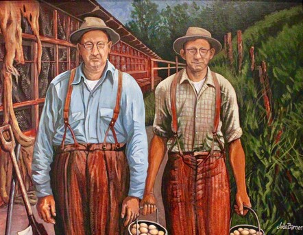 Poultry Farmers by Jude Barns. Acrylic