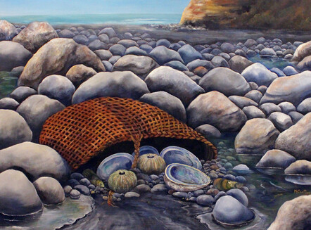 Taranaki artist Margaret Scott, acrylic painting, woven bag with abalone shells and sea urchins