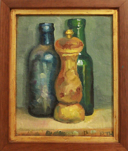 Wooden Pepper Grinder with Two Old Bottles by Paul Hutchinson - oil on linen, $620