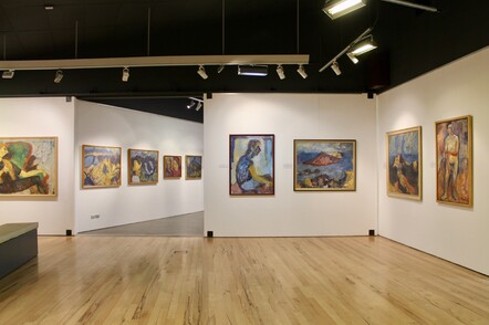 Gallery with artwork by New Zealand painter Toss Woollaston