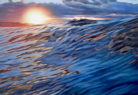 'Last Surf Fitzroy' painting by New Zealand artist Isaac Petersen