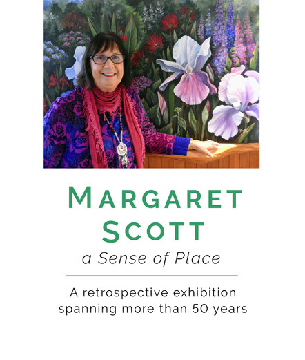 Taranaki artist Margaret Scott, A Sense of Place, exhibition poster