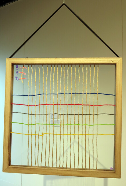 Equality is in the Eye of the Beholder - Jessica Ensing, 20 yearsGlass, string, wood. $200
