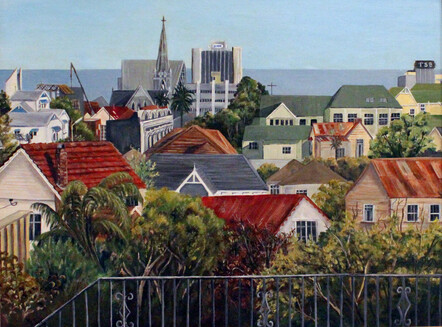Taranaki artist Margaret Scott, oil painting, View of New Plymouth City