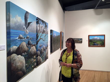 Taranaki artist Margaret Scott at exhibition, Percy Thomson Gallery