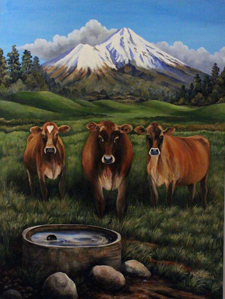 Taranaki artist Margaret Scott, painting, Jersey cows on farmland with Mount Taranaki in background