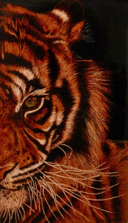 Tiger by Vicky Taylor. Pyrography on Matai. $300