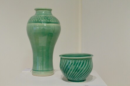 (Left to Right) Mike Spencer, Urn, Porcelain, $225; Lynn Spencer, Bowel, Porcelyn, $90