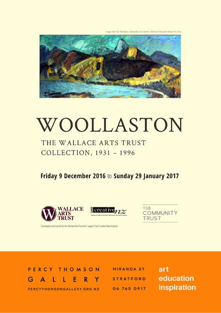 Exhibition of artwork New Zealand painter, Toss Woollaston poster