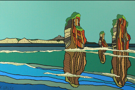 Adopt the Pace of Nature…the Sisters' Secret of Patience by Kris White - Acryclic on canvas, $900