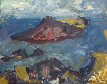 Oil painting of Rangitoto Island by New Zealand artist Toss Woollaston