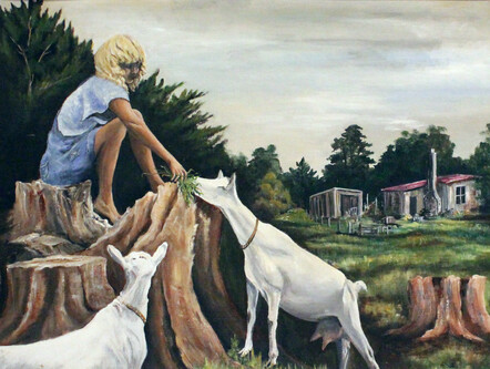 Taranaki artist Margaret Scott, oil painting, young girl feeding goats
