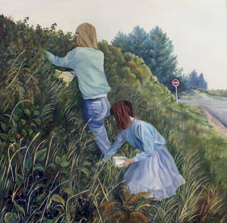 Taranaki artist Margaret Scott, oil painting, young people picking blackberries
