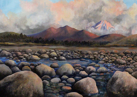 Taranaki artist, Margaret Scott, painting, stony river with mountain in background