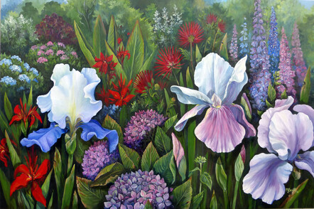 Taranaki artist Margaret Scott, acrylic painting, garden of flowers