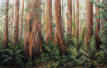 Taranaki artist Margaret Scott, mixed media artwork, Lucy's Gully, forest scene