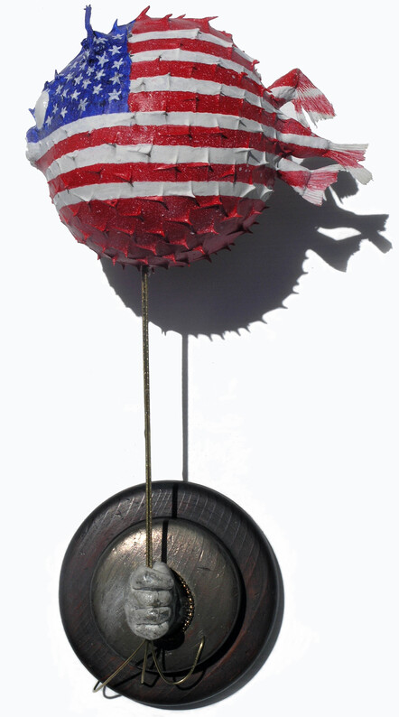 Dale Copeland, Democracy is Coming - Puffer fish, painted  'Any similarity to a public figure is purely fortuitous.'