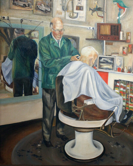 Taranaki artist Margaret Scott, oil painting, man in barber's chair