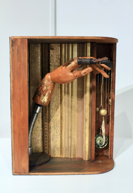 The moving finger writes and having writ moves on - Dale Copeland, old display hand from haberdashery shop, clock chimes, parchment, time pieces, $1500