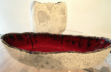 Signal Red (front) and Grey Shadows - Maria Brockhill, Clay and glaze  $600 SOLD, and $400