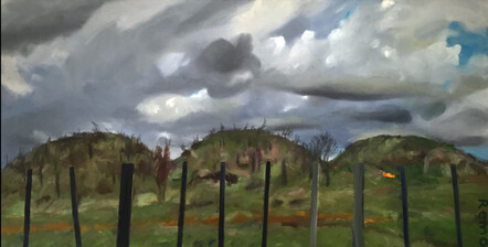 'From Oeo Road' painting by New Zealand artist Roger Morris